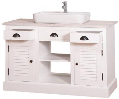 Casa Padrino Landhausstil Waschbeckenschrank Weiß / Hellgrau 120 x 51 x H. 75 cm - Waschtisch mit 2 Türen und 3 Schubladen - Vorschau 5