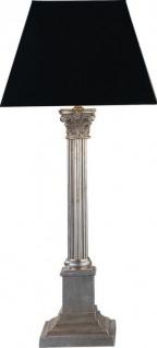 Casa Padrino Luxus Barock Tischleuchte Schwarz / Silber - versilberte Säulen Lampe - Handgefertigt in Italien