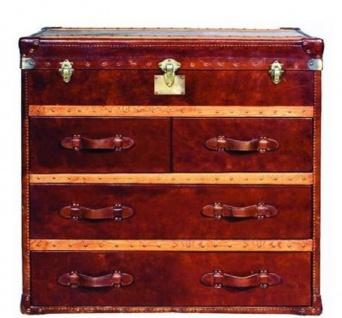 Casa Padrino Luxus Art Deco Kommode Vintage Braun 107 x 53 x H. 102 cm - Handgefertigte Echtleder Truhe mit 4 Schubladen und Deckel