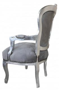 Casa Padrino Barock Salon Stuhl Grau / Silber - Möbel Antik Stil - Vorschau 2