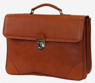 Casa Padrino Luxus Echtleder Aktentasche Braun / Silber 42 x 16 x H. 29 cm - Herren Laptoptasche aus hochwertigem Leder - Luxus Herren Accessoires