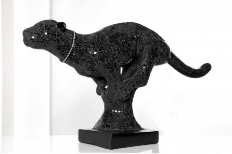 Casa padrino Luxus Panther Figur schwarz Höhe 45 cm, Breite 90 cm, Tiefe 20cm, edle Skulptur aus Kunststein - Edel & Prunkvoll