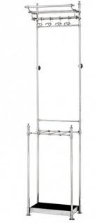 Casa Padrino Designer Luxus Garderobe inkl Schirmständer Vernickeltes Aluminium - sehr edel