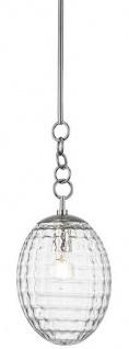 Casa Padrino Luxus Hängeleuchte Silber Ø 21, 6 x H. 55, 9 cm - Pendelleuchte mit eiförmigen Glas Lampenschirm - Wohnzimmer Lampe