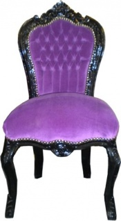 Casa Padrino Barock Esszimmer Stuhl Lila / Schwarz - Antik Stil Möbel