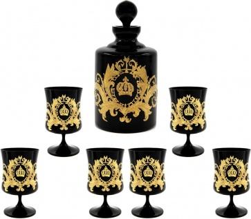 Pompöös by Casa Padrino Luxus Cognac Set Schwarz / Gold - Pompööse Glas Karaffe mit 6 Gläsern designed by Harald Glööckler
