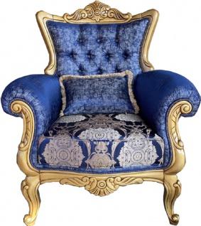 Casa Padrino Luxus Barock Sessel Blau / Creme / Gold - Handgefertigter Wohnzimmer Sessel mit elegantem Muster und dekorativem Kissen - Barock Möbel