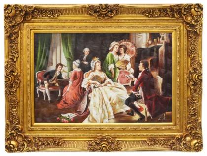 Casa Padrino Barockstil Öl Gemälde Gäste Gold Prunk Rahmen 130 x H. 100 cm - Barockmöbel