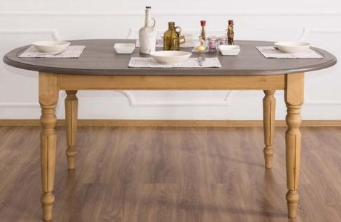 Casa Padrino Landhausstil Esstisch Grau / Hellbraun 180 x 120 x H. 78 cm - Ovaler massivholz Küchentisch mit Eichenholz Tischplatte
