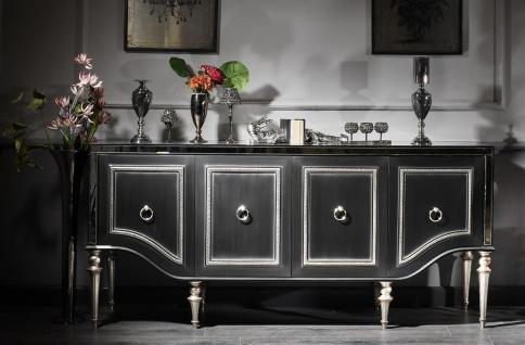 Casa Padrino Luxus Barock Sideboard Schwarz / Silber 220 x 103 x H. 56 cm - Wohnzimmerschrank mit Glasplatte und 4 Türen - Luxus Barock Wohnzimmer Möbel