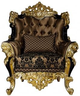 Casa Padrino Luxus Barock Sessel Braun / Schwarz / Gold 96 x 90 x H. 120 cm - Prunkvoller Wohnzimmer Sessel mit dekorativem Kissen - Edle Barock Möbel