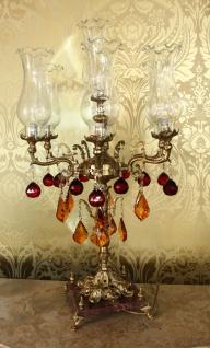 Casa Padrino Barock Kristall Hockerleuchte - H 86 cm - Rot / Orange - Luxus Kollektion