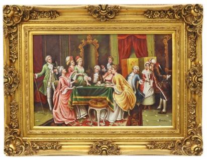Casa Padrino Barockstil Öl Gemälde Feier II Gold Prunk Rahmen 130 x H. 100 cm - Barockmöbel
