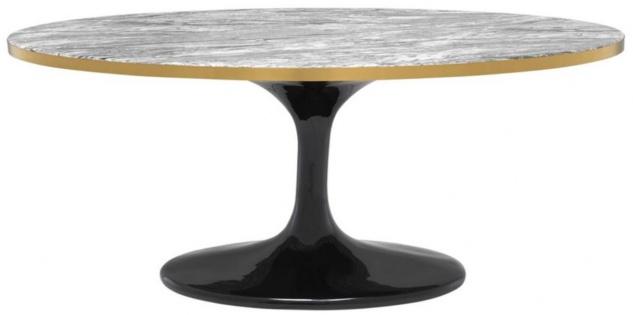 Casa Padrino Luxus Couchtisch Grau / Messing / Schwarz 120 x 60 x H. 50, 5 cm - Ovaler Wohnzimmertisch