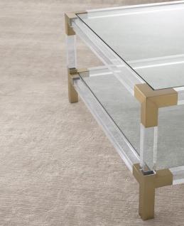 Casa Padrino Luxus Wohnzimmer Teppich Silber Sandfarben - Verschiedene Größen - Handgewebt