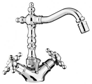 Jugendstil Retro Waschtisch / Waschbecken Armatur Silber H. 21 cm - Nostalgisches Bad Zubehör