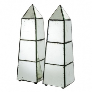 Casa Padrino Luxus Obelisk Skulpturen Set (2 Stk) Antik Stil Spiegelglas - Hotel Einrichtung - Luxus Dekoration