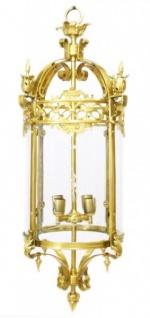 Casa Padrino Barock Hängeleuchte Gold Rund Deckenlaterne - Restaurant - Hotel Lampe Leuchte Laterne
