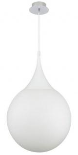 Casa Padrino LED Hängeleuchte Silber / Weiß Ø 40 x H. 150 cm - Pendelleuchte mit Mattglas Lampenschirm