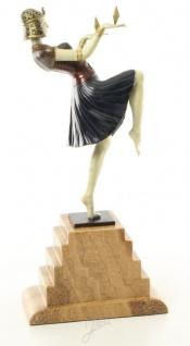 Casa Padrino Luxus Bronzefigur Ägytische Tänzerin Mehrfarbig / Beige 17 x 9 x H. 37 cm - Deko Bronze Skulptur mit Sockel - Vorschau 3