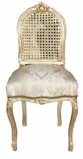 Casa Padrino Barock Damen Stuhl Gold Muster / Gold - Schminkstuhl