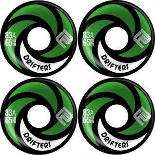 Flying Wheels Longboard Profi Wheels Drifters 65mm / 86a Black - Green abgerundet + angeraute Lauffläche - Longboard Cruiser Wheel Set (4 Rollen) Slide Rollen