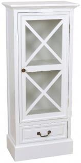 Casa Padrino Landhausstil Vitrine Weiß 46 x 26 x H. 106 cm - Handgefertigte Vitrine mit Glastür & Schublade