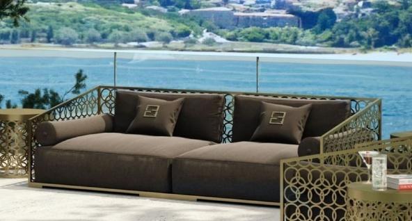 Casa Padrino Luxus 3er Sofa Braun / Gold 325 x 109 cm - Handgefertigtes Sofa mit Kissen - Wohnzimmer Sofa - Garten Sofa - Terrassen Sofa - Hotel Möbel - Luxus Qualität