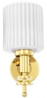 Casa Padrino Luxus Wandleuchte Gold / Vintage Weiß 13 x 18 x H. 28, 5 cm - Hotel & Restaurant Wandlampe mit Glas Lampenschirm - Vorschau 3