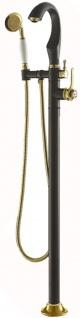 Casa Padrino Luxus Badewannenarmatur mit Standfuß und Handbrause Mattschwarz / Weiß / Gold 24, 3 x H. 108, 8 cm - Elegantes Bad Zubehör im Orientalichen Stil