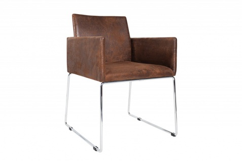 Casa Padrino Designer Stuhl mit Armlehnen Braun 55cm x 80cm x 60cm - Büromöbel