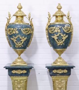 Casa Padrino Barock Vasen mit Marmor Säulen Set Blau / Gold 30 x 30 x H. 180 cm - Edel & Prunkvoll - Vorschau 2
