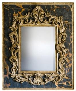 Casa Padrino Barock Spiegel Schwarz / Gold 104, 5 x H. 128 cm - Prunkvoller handgefertigter Wandspiegel mit dekorativem Rahmen und wunderschönen Verzierungen