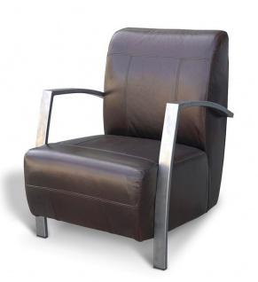Casa Padrino Vintage Industrial Echtleder Lounge Sessel - ALLE FARBEN - Luxus Wohnzimmer Sessel Industrie Design Möbel Büffelleder - Vorschau 5