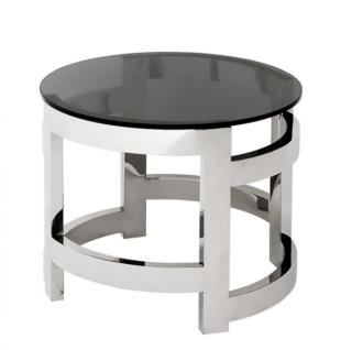 Casa Padrino Luxus Art Deco Designer Beistelltisch mit Rauchglas 60 x H. 50 cm - Luxus Qualität