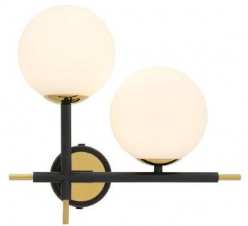 Casa Padrino Luxus Wandleuchte Schwarz / Gold / Weiß 35 x 17 x H. 35 cm - Luxus Kollektion