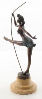 Casa Padrino Luxus Bronze Skulptur Ballerina Bronze / Beige 20, 3 x 10, 2 x H. 30 cm - Deko Bronzefigur mit Natursteinsockel - Vorschau 3