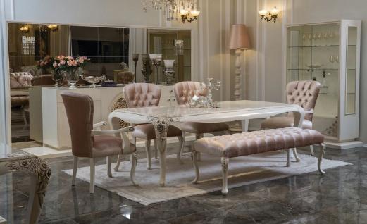 Casa Padrino Luxus Barock Esszimmer Set Rosa / Weiß / Beige - 1 Esszimmertisch & 4 Esszimmerstühle & 1 Sitzbank - Barock Esszimmer Möbel