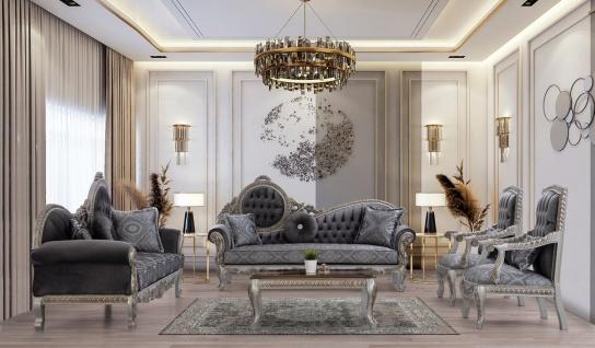 Casa Padrino Luxus Barock Wohnzimmer Set Grau / Blau / Silber / Bronze - 2 Sofas & 2 Sessel & 1 Couchtisch - Prunkvolle Wohnzimmer Möbel im Barockstil