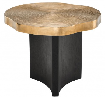 Casa Padrino Luxus Beistelltisch Messingfarben / Schwarz Ø 63, 5 x H. 50, 5 cm - Luxuriöser Beistelltisch mit Tischplatte im Baumscheiben Design - Vorschau 1
