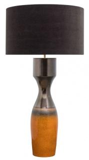 Casa Padrino Luxus Keramik Tischleuchte Silber / Orange Ø 60 x H. 113 cm - Handgefertigte Tischlampe mit schwarzem Lampenschirm