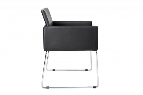 Casa Padrino Designer Stuhl Schwarz mit Armlehnen 55cm x 80cm x 60cm - Büromöbel - Vorschau 2