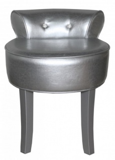 Casa Padrino Designer Hocker Boston Silber / Silber mit Bling Bling Steinen - Barock Schminktisch Stuhl