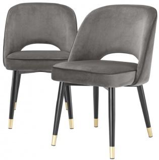 Casa Padrino Luxus Esszimmerstuhl Set Grau / Schwarz / Messing 53 x 56 x H. 84 cm - Esszimmerstühle mit edlem Samtstoff - Esszimmer Möbel