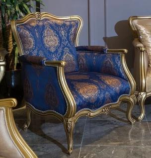 Casa Padrino Luxus Barock Sessel Blau / Gold 90 x 74 x H. 106 cm - Wohnzimmer Sessel mit elegantem Muster - Barock Wohnzimmer Möbel