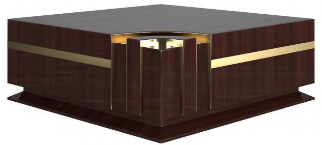 Casa Padrino Designer Couchtisch Dunkelbraun Hochglanz / Gold 120 x 120 x H. 52 cm - Quadratischer Wohnzimmertisch - Luxus Qualität