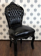 Casa Padrino Barock Esszimmer Stuhl Schwarz / Schwarz Lederoptik - Möbel Antik Stil