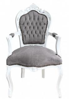Barock Weiß Grau Padrino Stuhl Casa Esszimmer Mit Armlehnen W2IEDH9Y