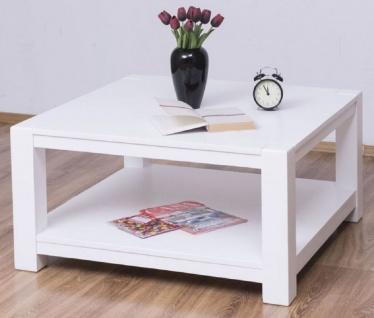 Casa Padrino Landhausstil Couchtisch Weiß 90 x 90 x H. 45 cm - Massivholz Wohnzimmertisch - Möbel im Landhausstil