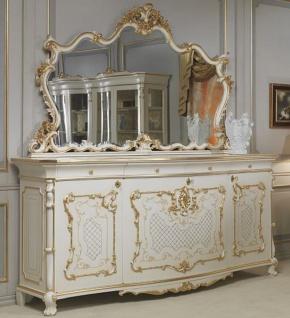 Casa Padrino Luxus Barock Möbel Set Sideboard mit Spiegel Weiß / Gold - Edler Massivholz Schrank mit elegantem Wandspiegel - Hotel Restaurant Schloss Möbel - Luxus Qualität - Made in Italy